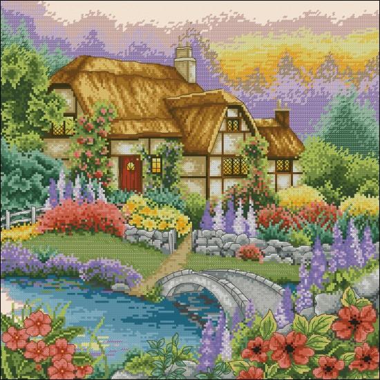 Къща с мост в градината